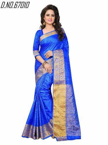 5e9a4b5f6f94a Multicolor Printed Designer Cotton Silk Saree, With Blouse Piece, Rs ...