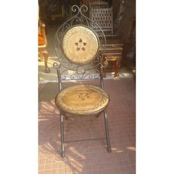 Brown Wooden Iron Chair, For Cafe