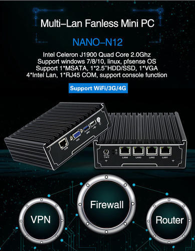4 Gigabit Ethernet Lan Ports Firewall Motherboard Mini Itx Case Celeron  J1900 Quad Core Server Route