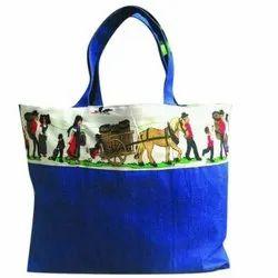 Blue Loop Handle Printed Carry Bag
