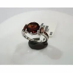 925 Sterling Silver Garnet Emerald Ring