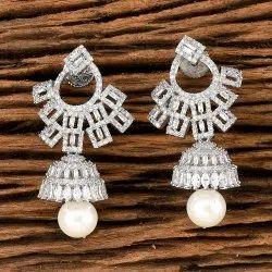 Women White Cz Classic Rhodium Plated Earring 405543