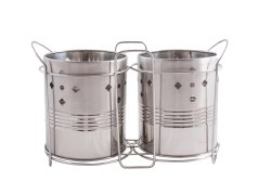 Stainless Steel Cutlery Holder With Stand Set Of 2 Pc - Silver