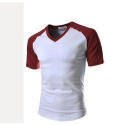 Half Sleeve Mens V Neck Cotton T Shirt, Size: S-XXL