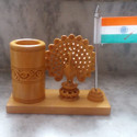 Wooden Pen Holder With Peacock Statue And Flag