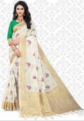 Daisy White Super Net Saree