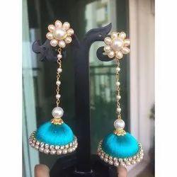 S.K Gems Multicolor Party Wear Silk Thread Earrings