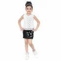 Girls Leather Skirt Print Net Top