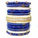 Simple Latest Gold Blue Silk Thread Bangle Designs Set
