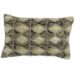 Printed Embroidered Diamond Pattern Cotton Pillow Cover