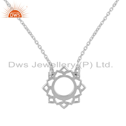 White Rhodium Plated Energy Vishuddha Chakra Silver Chain Pendant Necklace