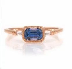 14K Rose Gold Sapphire Octagon Lateral Baguette Ring