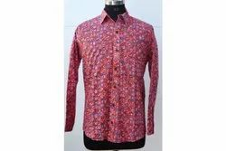 Red Men's Floral Printed Shirt Block Printed Shirt Wooden Block Print Soft Fabric