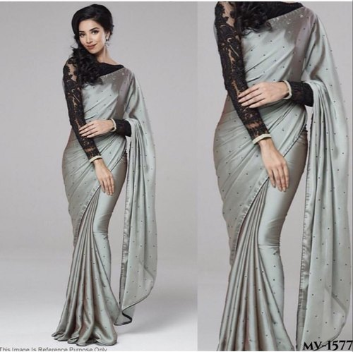 37c752a35 Black Net Grey Georgette Fabric Stone Work Bridal Saree With Blouse ...