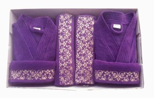 Color Purple Cotton Bathrobe Set For Couple 85d4c8000