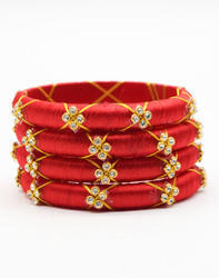 Red Cross Zari Silk Thread Bangle