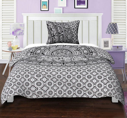 Black White Stylo Culture Indian Ethnic Elephant Floral Duvet