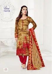 Straight Multicolor Cotton Dress Material, Machine wash