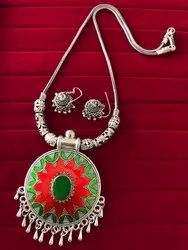 Oxidized Chain Necklace with Matching Jhumka