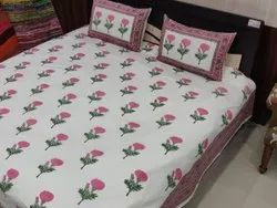 Ross Floral Hand Block Print Double Bed Sheet With Pillow