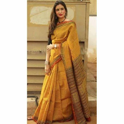 cde7ccc6b82d2c Chanderi Silk Mustard Color Saree, Length: 6.3 M, Rs 1750 /piece ...