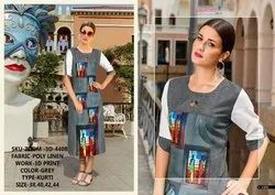 Rachna Poly Linen 3D Printed Work Zoom-3D Catalog Kurti For Women 8