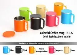 H127 - Colorful Coffee Mug With Stainless Steel Inside (With Cover)