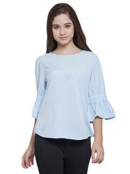 Ice Blue Knot Sleeve Top