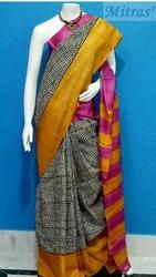Mitras' Party Wear Block Printed Tussar Silk Saree, 6.4 m, With Blouse Piece