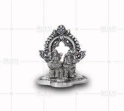 White Metal Small Laxmi Ganesh Statue