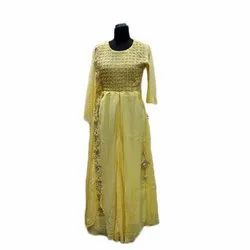 Party Wear Bemberg Silk And Muslin Ladies Yellow Embroidered Maxi Dress