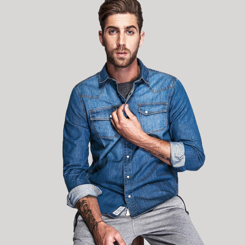 3cec070a5fa Men Light Wash Jean Shirt - Light Wash Denim Shirt Made In India ...