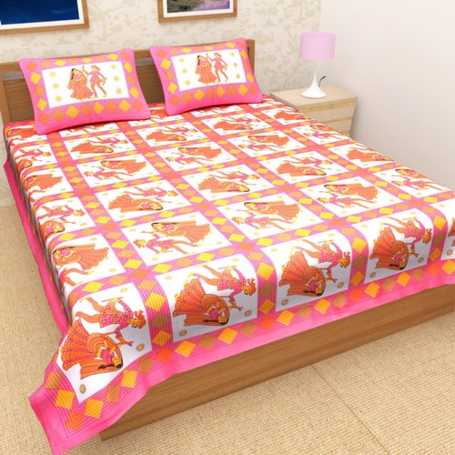 e223b1ed30 Cotton Rajasthani dandiya Print Double Bedsheet With 2 Pillow Cover,  Packaging Type: Packet,
