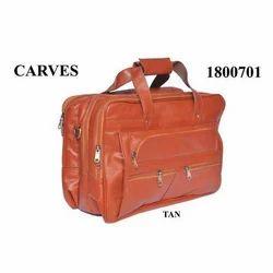 Carves Brown Leather Luggage Bag