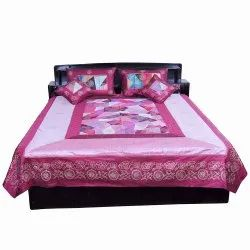 Pink Embroidered Rajasthani Silk Bedlinen Cushion n Pillow Cover 328