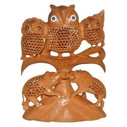 Wooden Undercut Owl Family