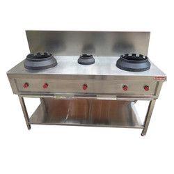 Stainless Steel LPG Three Burner Chinese Cooking Range (Hottie)