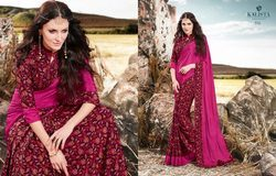 Dark Pink Color Crepe Silk Printed Saree