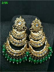 Vardhaman goodwill Golden,Sky Blue Designer Kundan Earrings, Shape: Jhumki -circle shape