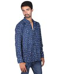 Indigo Polka Dot Hand Block Printed Full Sleeve Men Shirt