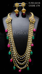 Traditional Beaded Polki Necklace Set