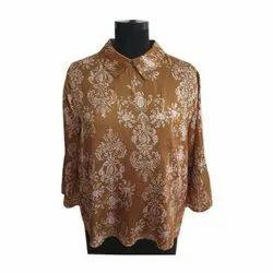 Full Sleeve Ladies Satin Printed Top, Size: S-L, Packaging Type: Packet