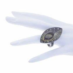 Pave Diamond Ammolite Leaf Rings