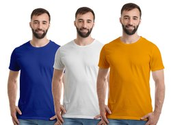 Plain Half Sleeve Mens 180  Cotton Round Neck T Shirt