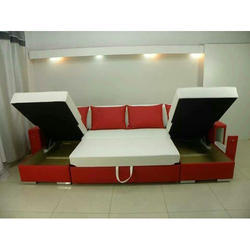 Leather Red And White Modern Sofa Bed