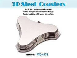 Set of 6pcs Stainless Steel 3D Coasters