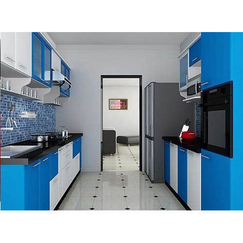 Laminated Modular Kitchen At Rs 1400 Square Feet: Blue And White Residential Modular Kitchen, Rs 2200