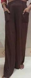 Plain Women's Cotton Lycra Parallel Palazzo Bell Bottom Flare Legs