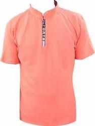 Zip Collar Men Chinese Neck T-Shirt