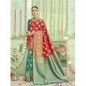 Rich Fabrics of Art Silk Blend Saree with Heavy Golden Threadwork In Red